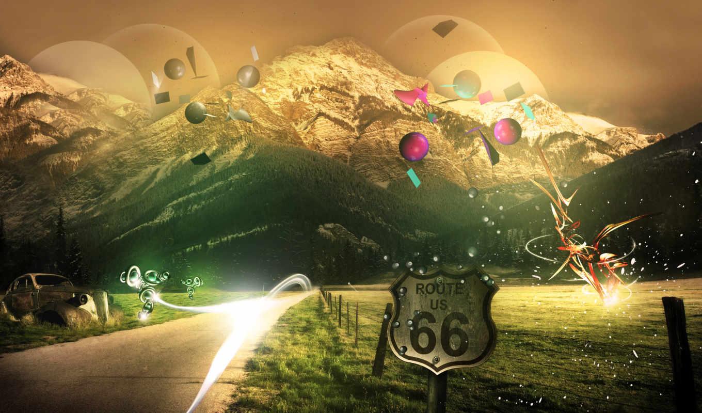 route, дорога, горах, admin, вставками, горы, абстрактными, абстрактные,