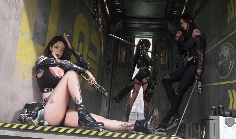 cyberpunk, девушки, войны, бойцы