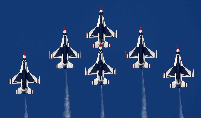самолёт, летит, небо, авиация, лайнер, thunderbirds, fighting, falcon, картинка, aircrafts, самолеты,