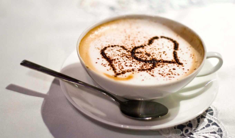 любовь, сердце, кофе, чашка, блюдце, ложка, скатерть, корица