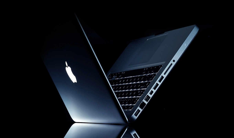 apple, ноутбук, темнота, отражение, лого