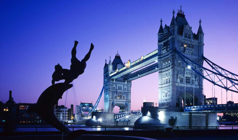 мост, londone, башня, london, небо, закат, река,