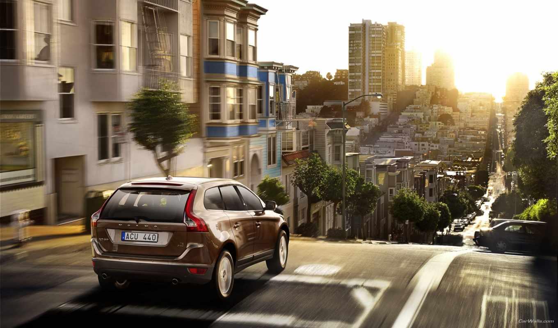 дорога, город, машины, авто, volvo, здания, sun, небо, свет, car,