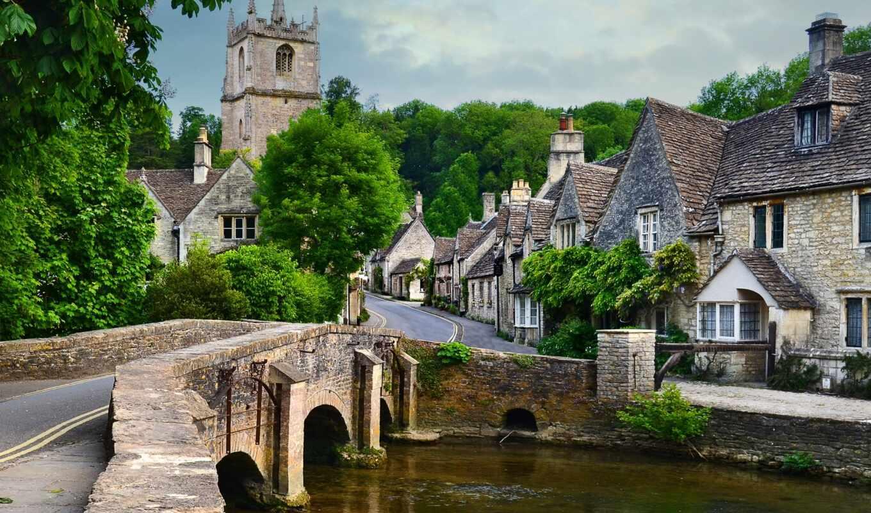 cotswold, деревня, англия, великобритания, countryside, house, combe, небо, castle, line