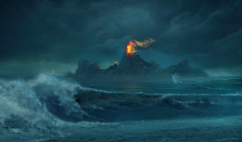 risen, лодка, горы, огонь, волны, обою, project, изображение, смотрите, картинку, digital, art, www,