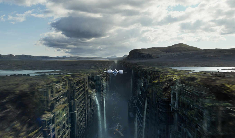 oblivion, корабль, полет, руины, картинка, картинку,