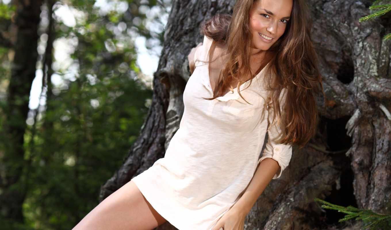 milana, девушки, девушка, улыбка, дерево, лес,