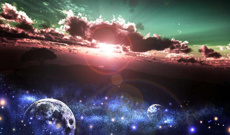 art, планеты, звезды, дерево, earth, закат, космос, sun,
