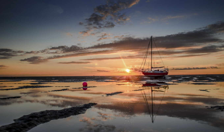 море, закат, beached, чё, пляж, корабль, landscape, лодка,