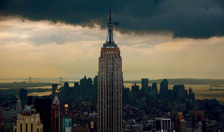 билдинг, эмпайр, стейт, нью, небоскрёб, york, america,