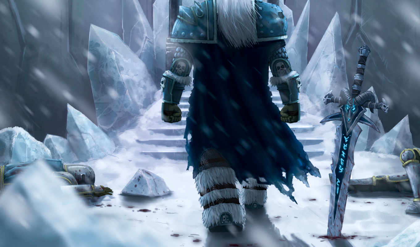 fanart, wow, warcraft, лич, world, arthas, king, меч, winter, снег, льды,