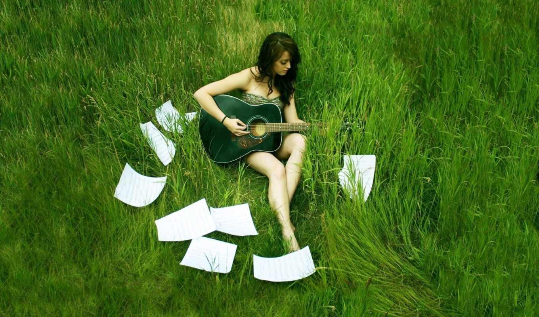 guitar, девушка, обои, girl, аккорды, гитара, wall