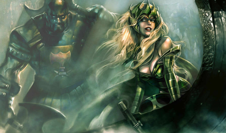 desktop, доспехи, поза, воин, арт, девушка, декольте, секира, солнца, лучи, marvel, queen, фэнтези, ultimate, alliance, картинка, games, king,
