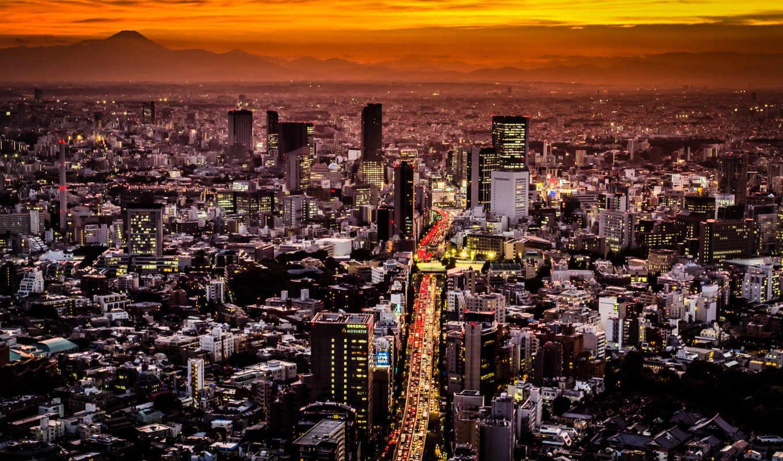 ,Токио, Япония,ночь, огни, небоскребы,