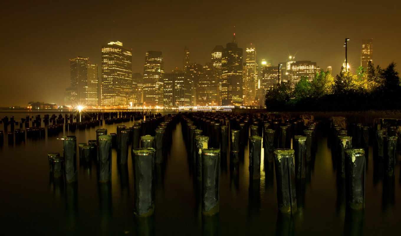город, york, skyline, new,