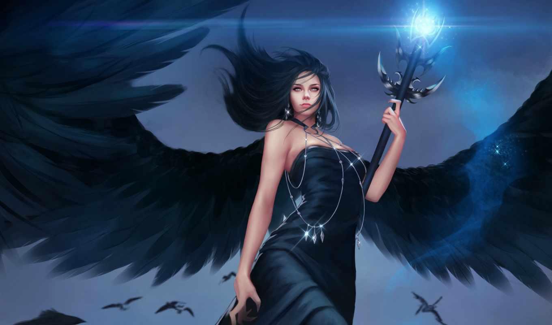 девушка, крыльями, angel, fallen, черными, art, крылья, птицы, взгляд, фантастика, полет,