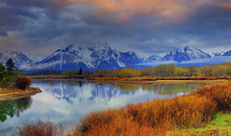 горы, небо, облака, лес, пейзажи -, река,