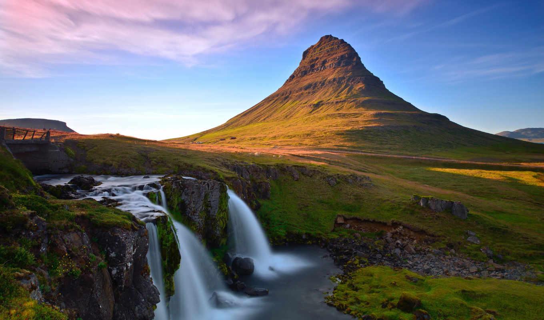 iceland, водопад, гора, kirkjufellsfoss,