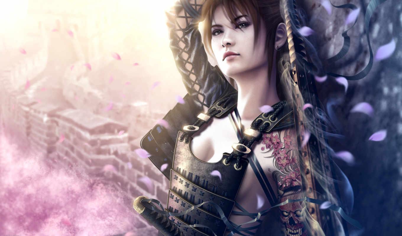 девушка, самурай, art, марио, wibisono, июл, картинка,