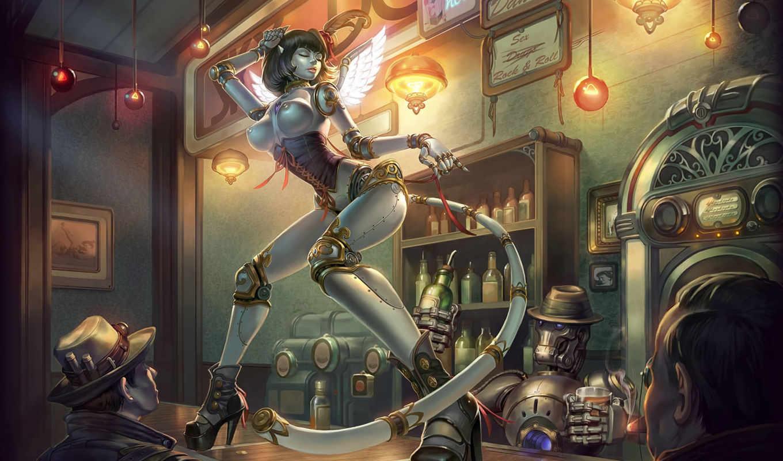 art, девушка, robot, крылья, doll, огни, bar, dance,