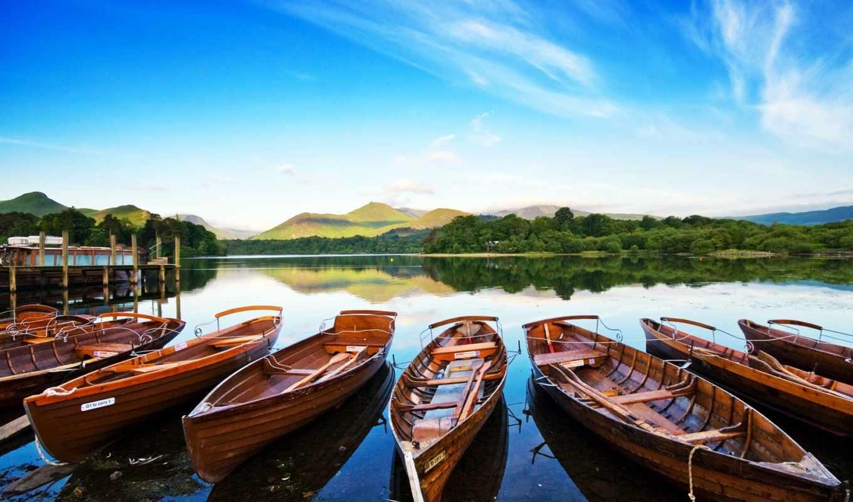 лодки, причал, озеро, природа, landscape, разрешением, высоким, water,