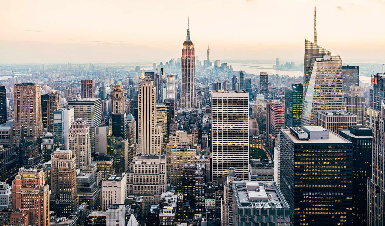 new, york, крыши,