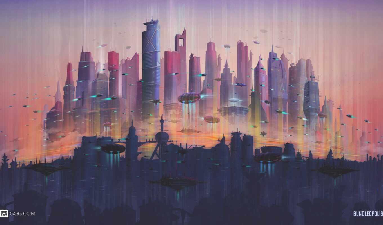 город, будущее, landscape, гог, urban, futuristic