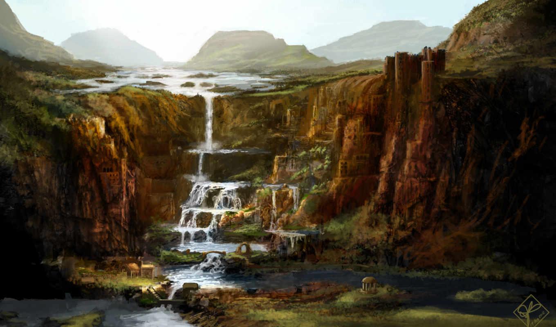 обрыв, водопад, арт, скалы, горы, город, живопись, замок, бесплатные, разное,