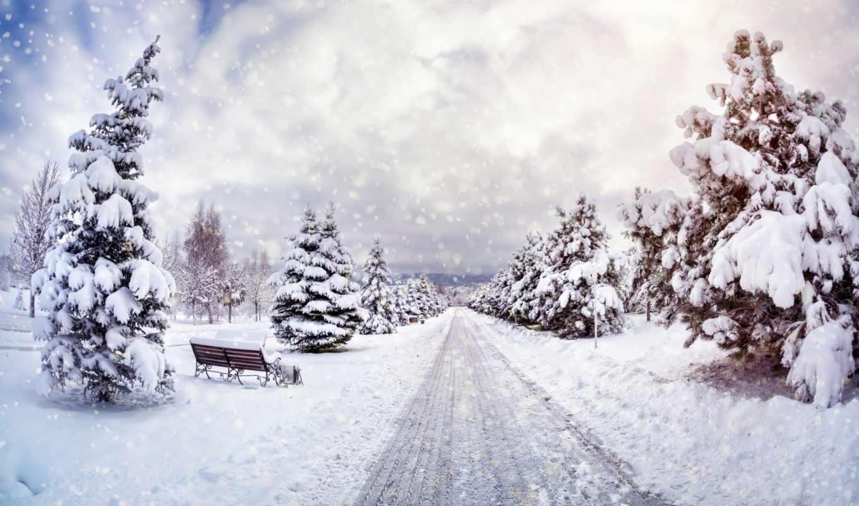 winter, скамейка, коллекция, небо, классные,