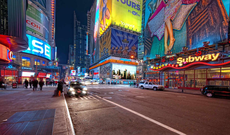 york, нью, square, ночь, люди, new,