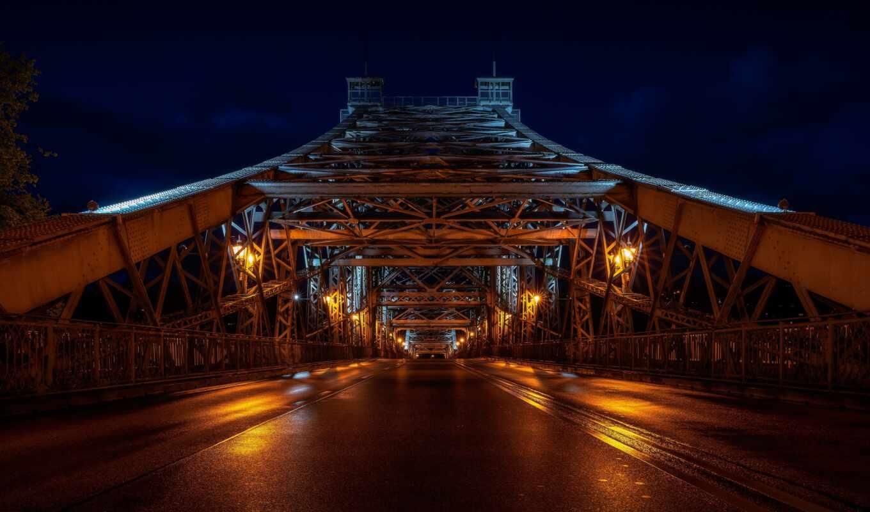 мост, construction, ночь, дорога, город