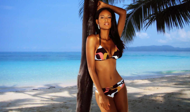 emanuela, paula, девушки, купальник, пляж, пальмы, загар, девушка, wallpaper, изображение, тела, пальма, модель, брюнетка,
