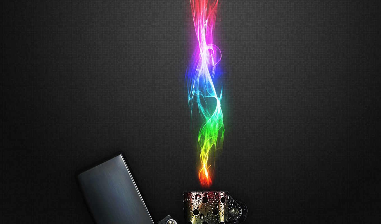 flame, rainbow, petrol lighter