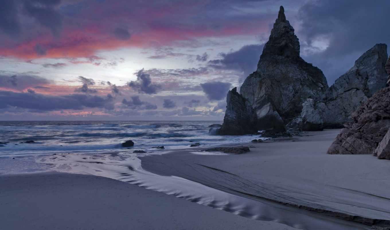 море, португалия, песок, берег, прибой, вечер, скалы, beach, картинка, номером,
