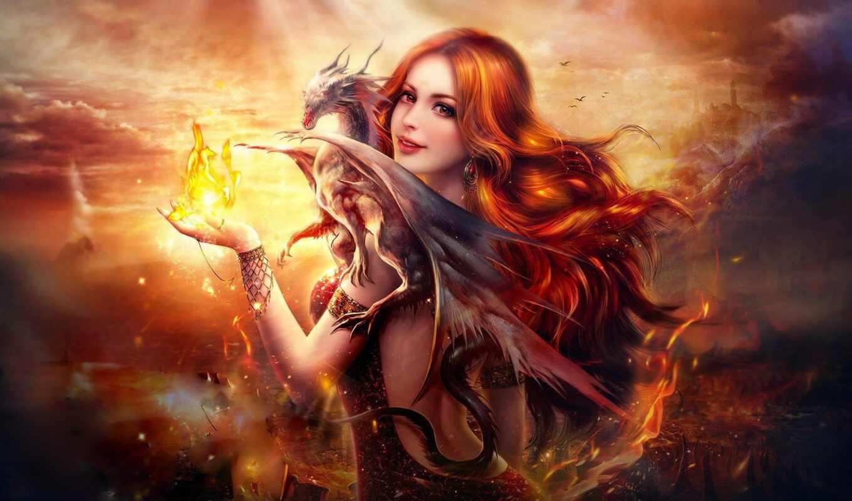 девушка, art, рыжая, огонь, digital, пламя, women, красавица, дракон, fantasy,