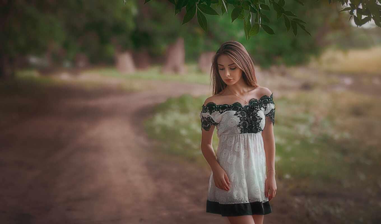 девушка, платье, depth, white