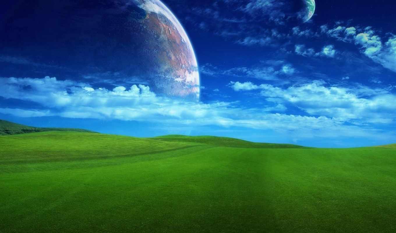 поле, трава, планета, фэнтези, бескрайнее, background, чтобы, зеленое,