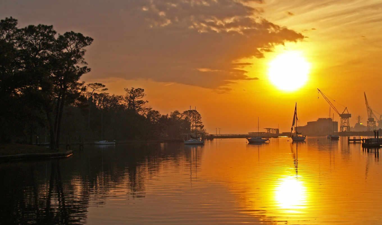 закат, яхты, закате, sun, вечер, море, трава, published, яхта, катера,