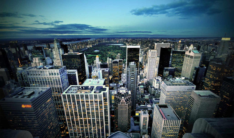 нью, york, park, здания, город, широкоформатные, usa, chicago, иллинойс, есть,