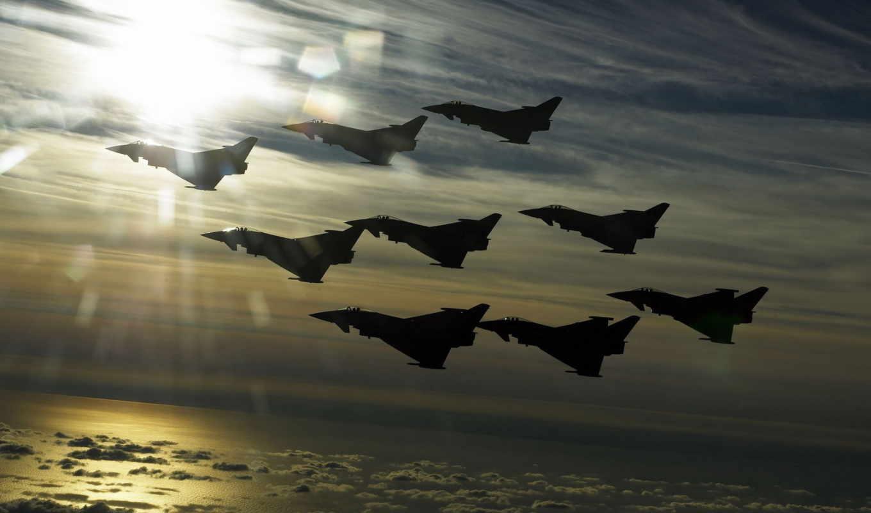 typhoon, полет, истребитель, europower, eurofighter, самолёт, картинка, самолеты, небо, горизонтали, имеет, высота, вертикали,