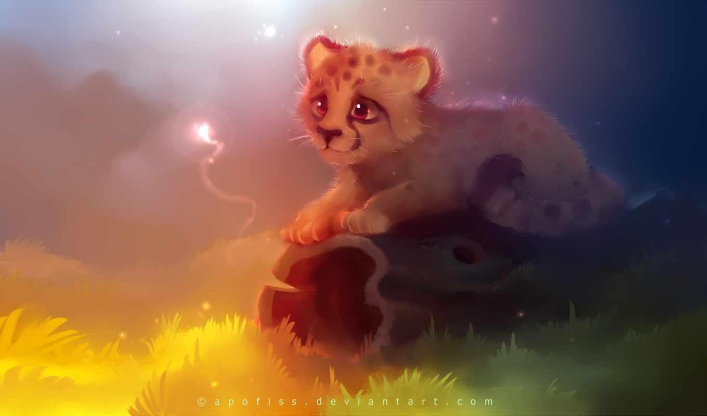 свет, желтый, бревно, котенок,