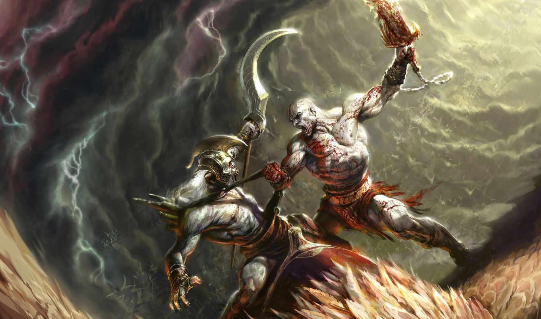 god, war, бой, монстр, кровь, сражение,