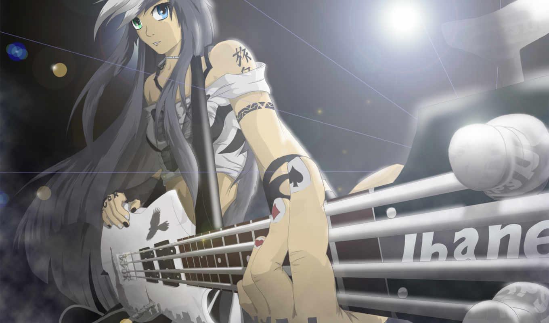 anime, гитара, музыка, девушки, rock, тату,
