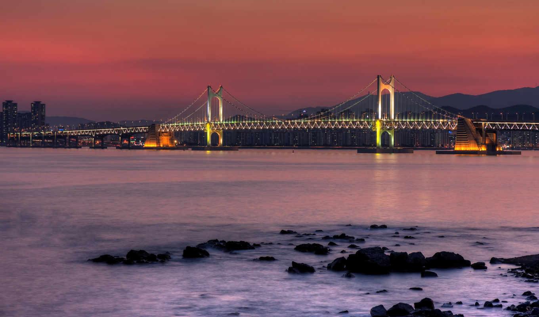 korea, мост, ночь, south, water, разное,