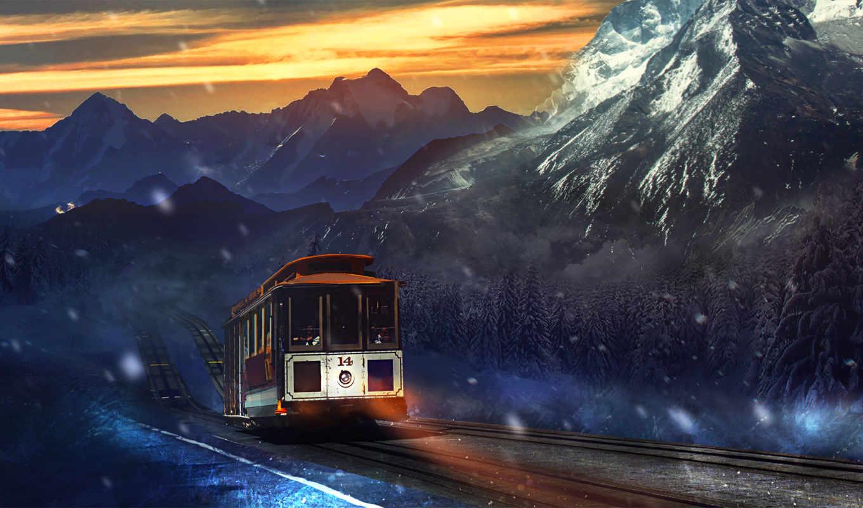 поезд, free, mountains, journey, программы, desktop,