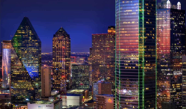 небоскребы, здания, даллас, картинка, вечер, огни, картинку,