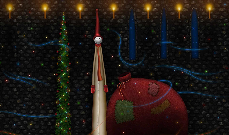 bag, год, christmas, xmas, новый, праздник, елка, подарками, черный, человечек, колпак, vladstudio,