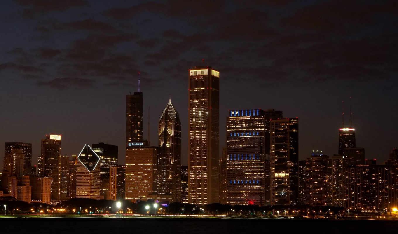 skyline, chicago, desktop, город,ночь,небо,