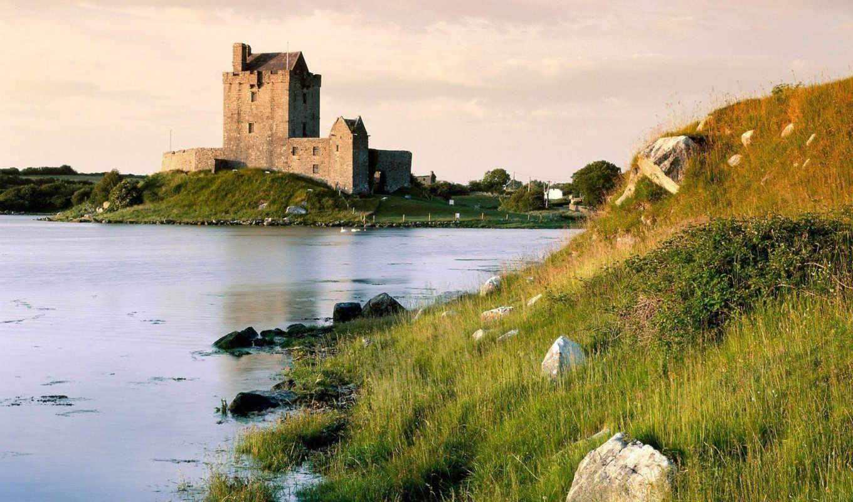 ireland, ирландии, castle, замок, районе, уезд, dunguaire, янв, замка, европе,