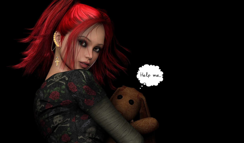 волосы, fantasy, красные, фантастика, anime, compo, девушка, paste, глаза, загрузок, девушки,